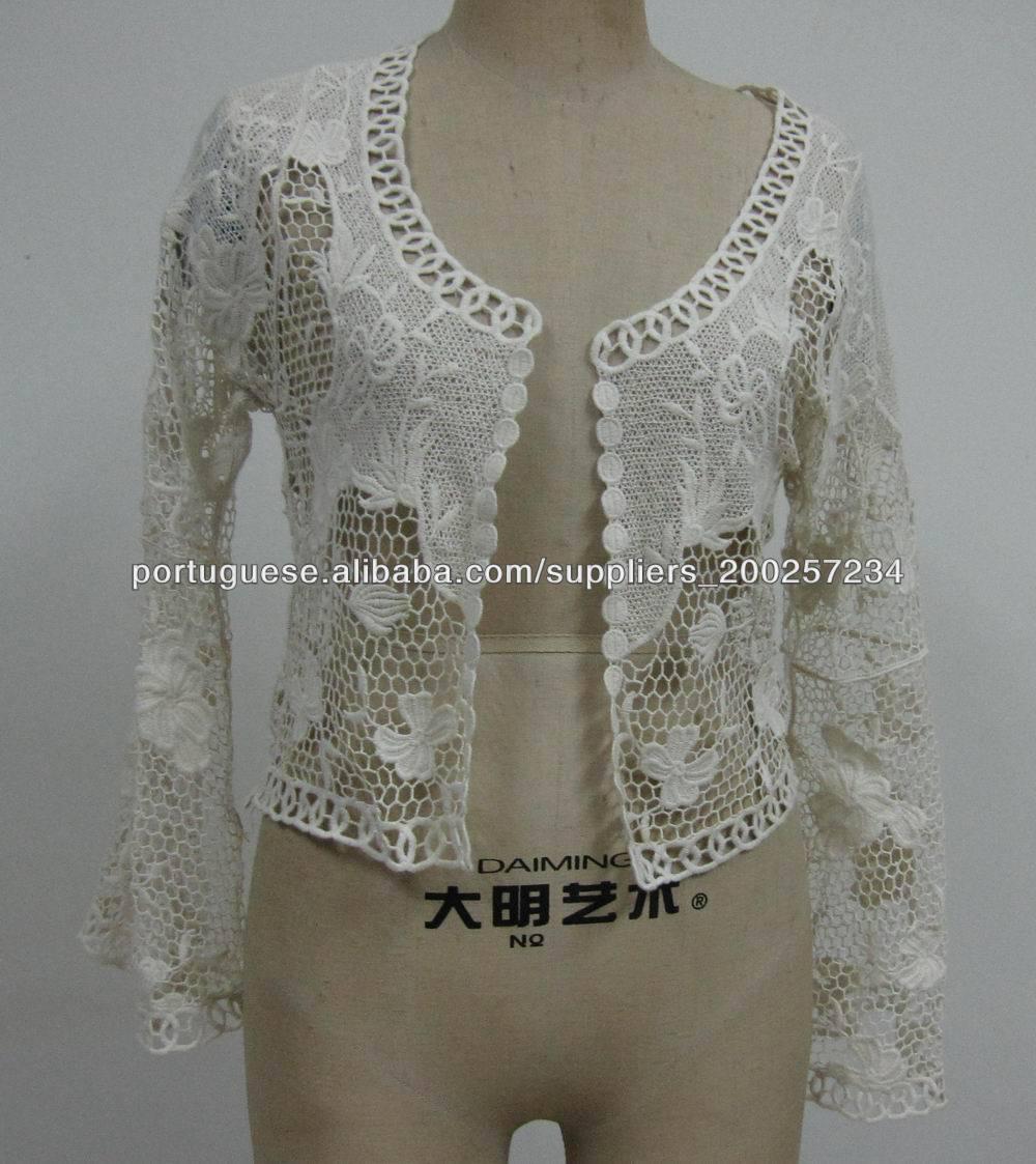 0d4ec9ed7 manga longa de algodão senhora blusa de renda-Blusas e camisas para ...