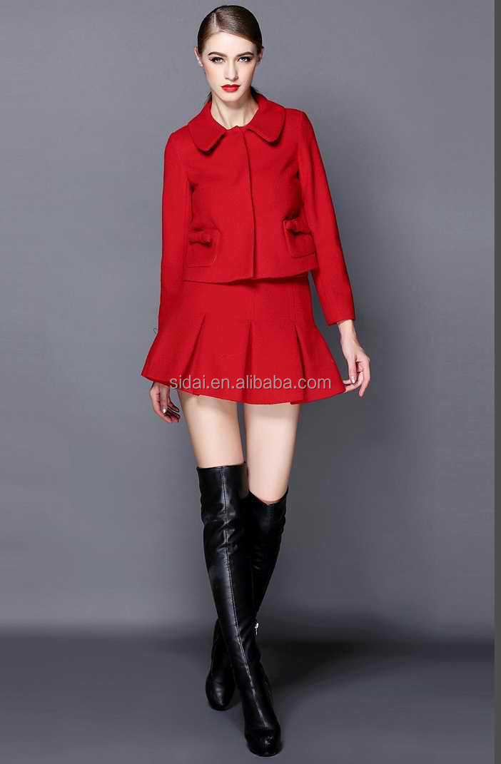 Fall Winter Famous Brand Morden Women Business Wool Red Suit Or ...