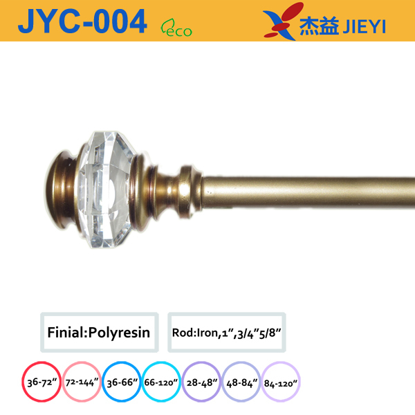 new design home decoration curtain rod with crystal finial