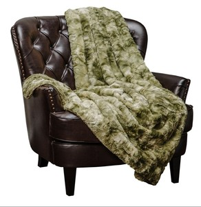 2018 Variation Print Plush Sherpa Olive Green Fur Microfiber Throw Blanket