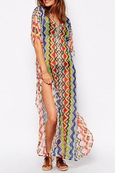 2015 NEW fashion summer women bohemian style loose striped half sleeve V-neck ankle-length chiffon High Slit beach Dress