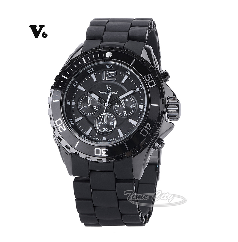 Black Red Steel Silicone Strap 2015 Sports Men's Quartz Watch Famous Brand V6 Hours Casual Fashion Luxury Gift New Wrist watches