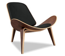 Designer hotel room chair Wegner Shell bent wood lounge chair for public area