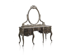 Fancy Dark Dressing Table with Mirror, Antique French Style Luxury Wooden Dresser