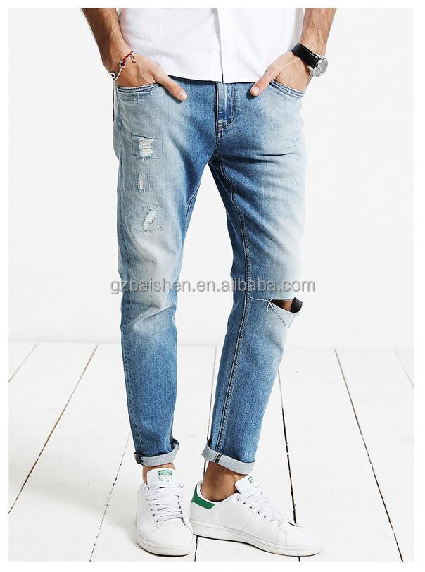 New design jeans pants types casual fashion ripped baggy pant blue denim jeans for man