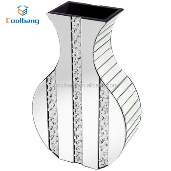 Wholesale Crystal Glass Mirrored Mosaic Vase Beveled Mirror Vase For