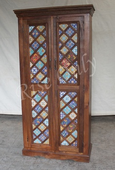 Bedroom Furniture Almirah rise only indian wooden mango wood 2 door ceramic tile fitted
