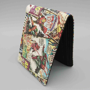 Custom printing teen boys wallet, cartoon printed young boys pu wallet, pu bifold wallet for marvel