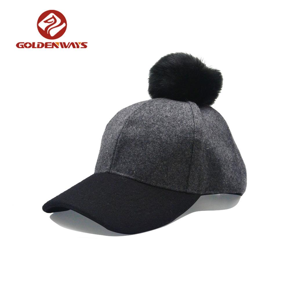 2018 고품질의 사용자 정의 겨울 모피 모자 응원 6 패널 야구 모자