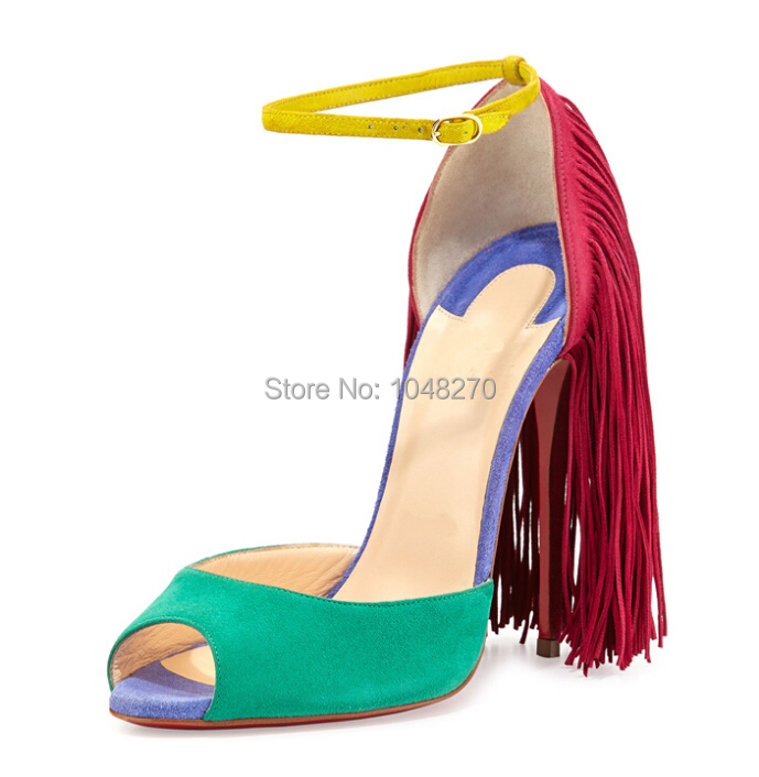 2015 Wholesale Hottest mixed color tassel sandals Women high heels peep toe ankle strap  pumps Fashion style Free Shipping
