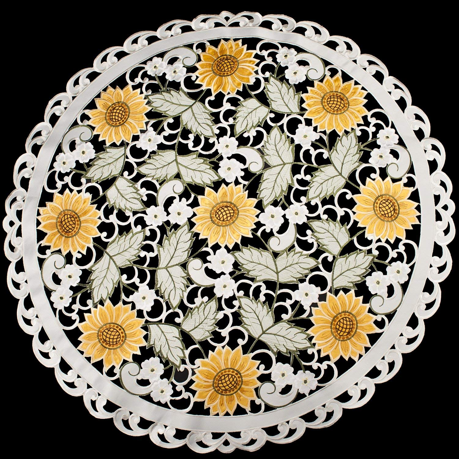 "Linens, Art and Things Embroidered Table Topper Doily Table Centerpiece Small Tablecloth Open Weave Cut Work Sunflower and White Daisy on Ivory 36"" Round"