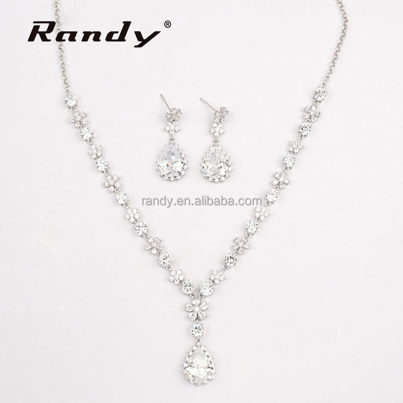 Cubic Zirconia Teardrop Wedding Pear Cut Jewelry Set Bridesmaid Necklace Earrings Set