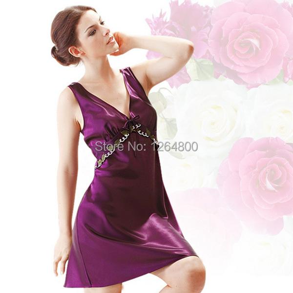 1256e77c51 2015 Hot Sale Sexy Nightgowns Sexy Sleepwear Silk Sleepshirts Pajamas  Nightdress Girls Nightwear Home Dress Plus