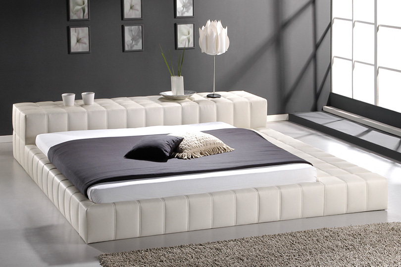 white leather bed/ italian leather bed /leather round bed