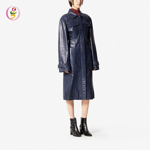Women Vintage Look Long Leather Jacket Long Sleeve Trench Coat Women