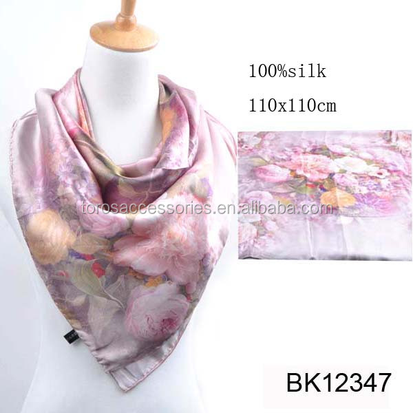 HIGH QUALITY WOMEN DIGITAL PRINTING SQUARE WHOLESALE TWILL SILK SCARF 90x90