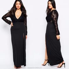 9d1803d5829a24 Fashion evening dress for fat women V- neck lace plus size long sleeve Maxi  Dress