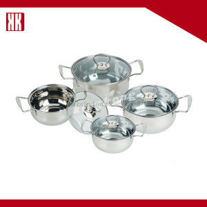 CE EU FDA 8pcs Large Stainless Steel Cookware Set Cooking Pots