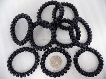 Black hair tie - plastic telephone wire - scrunchie - hair ring - ponytail  - for 598ac50275a