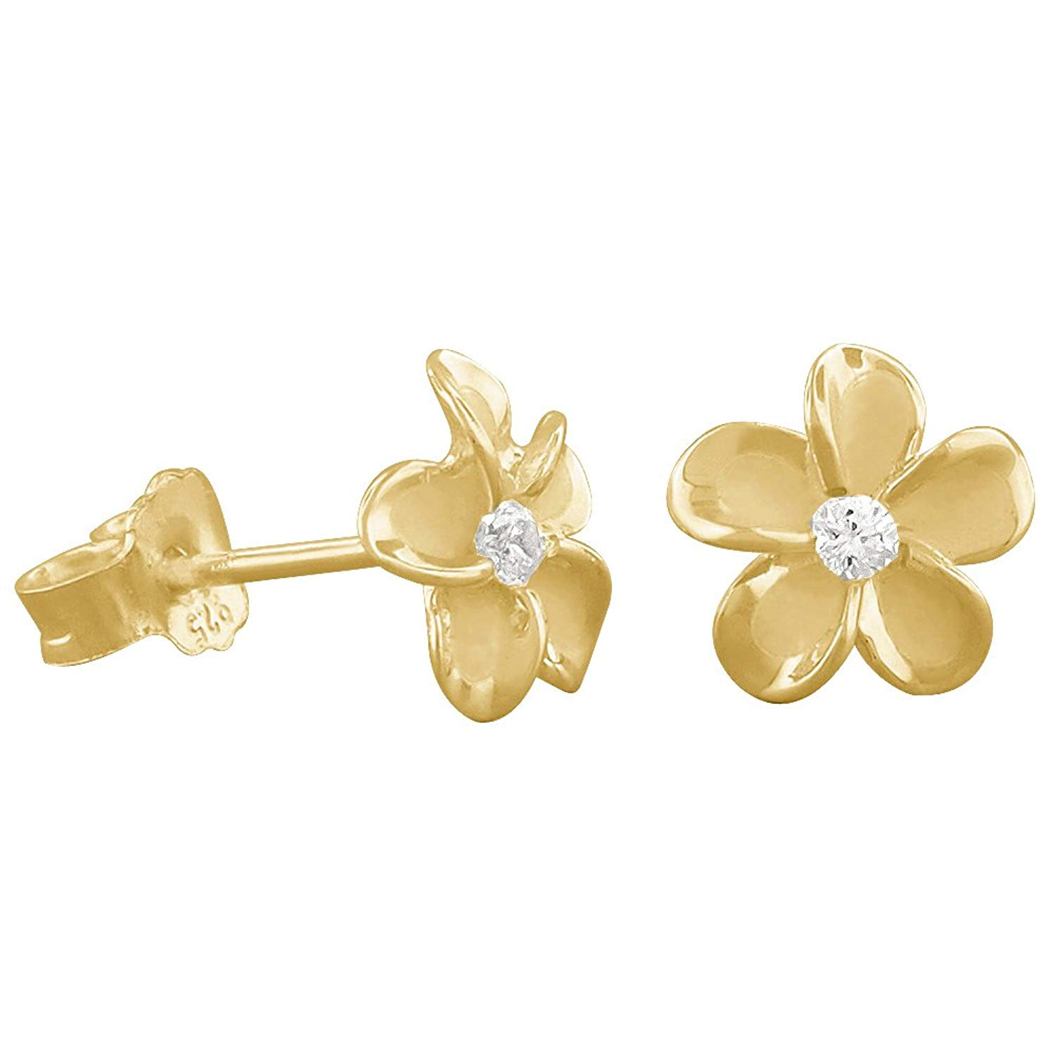 Get Quotations 14kt Yellow Gold Plated Sterling Silver 7mm Plumeria Stud Earrings