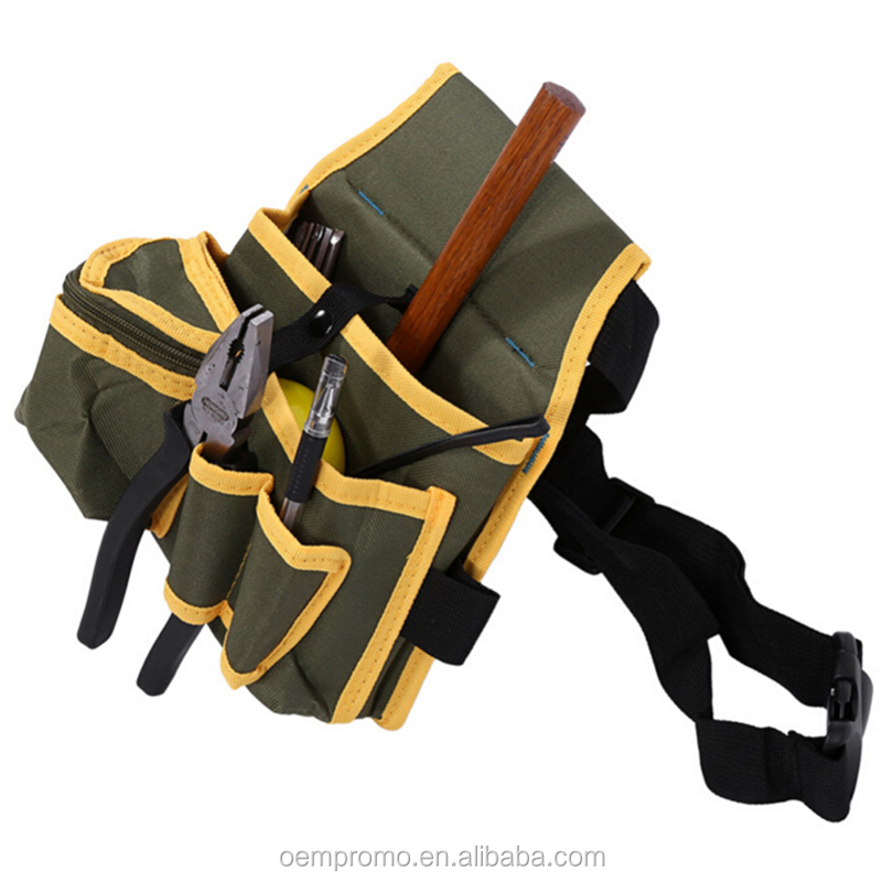 Multiple Pocket Canvas Pouch Bag with Belt Hardware Mechanic's Electrician Tool Waist Packs