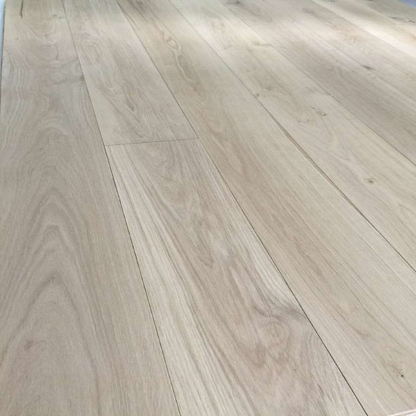 Raw unfinished smooth surface White Oak engineered wood flooring