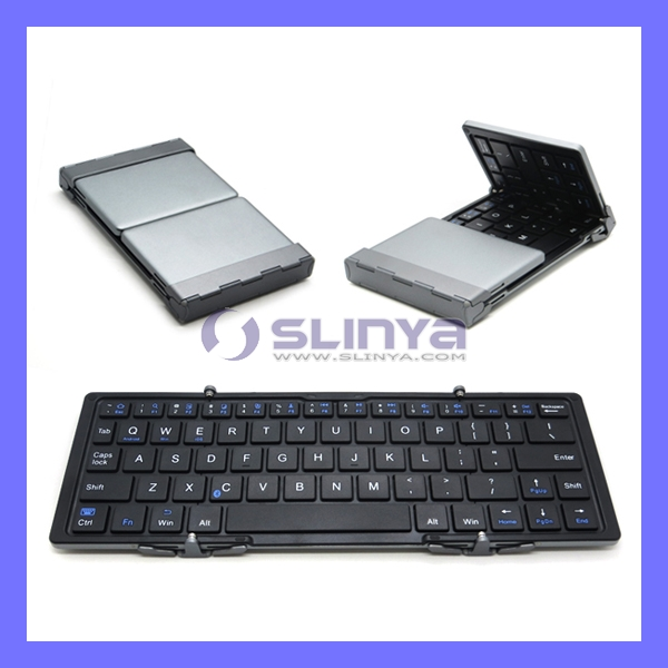 Universial Mini Portable Folding Auminum Wireless Foldable Bluetooth Keyboard for IOS Andriod Windows PC Tablet