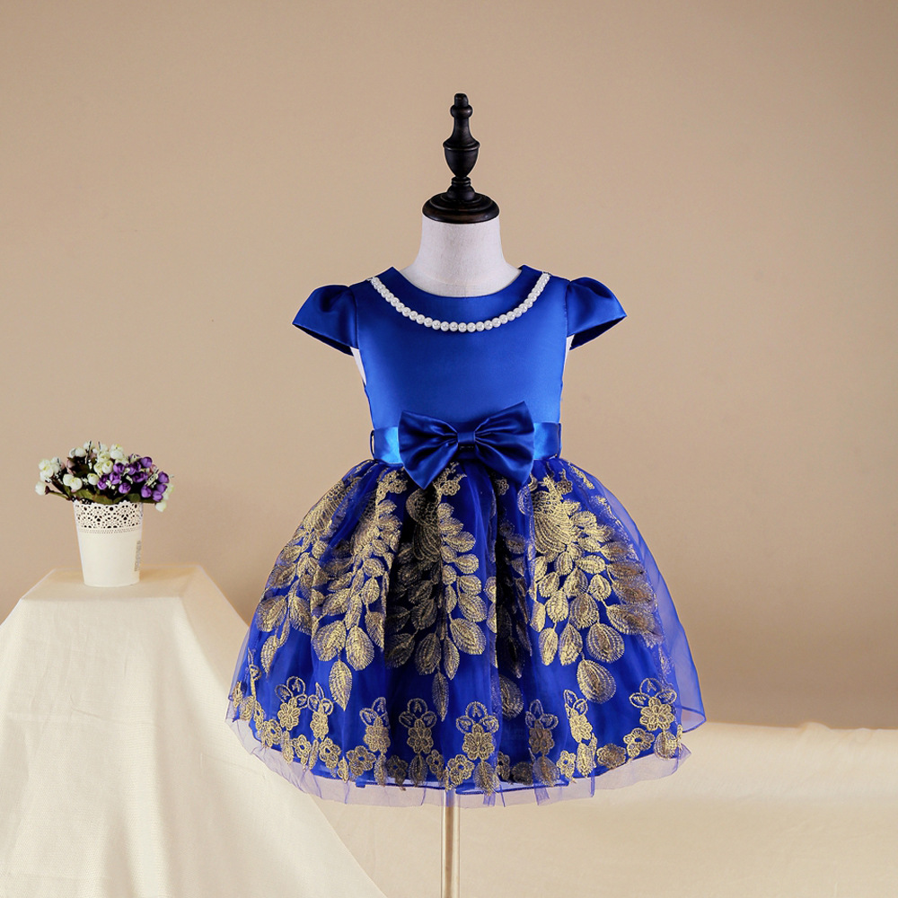 Wholesale children's boutique clothing children's spun gold princess dress new design children's dress