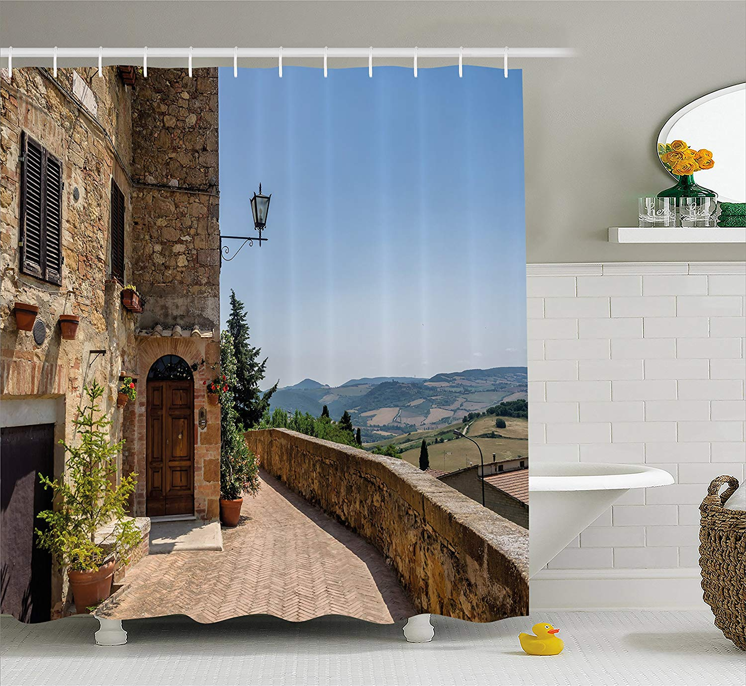 Ambesonne Italian Decor Shower Curtain The Walls of Pienza in Tuscany Historical European Landmark Fabric Bathroom Decor Set with Hooks Light Brown Green Light Blue 70 Inches