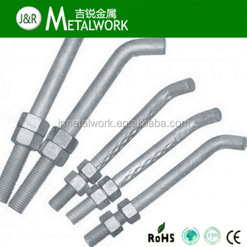 Hot DIP Galvanized / HDG J Type Foundation Bolt And Nut