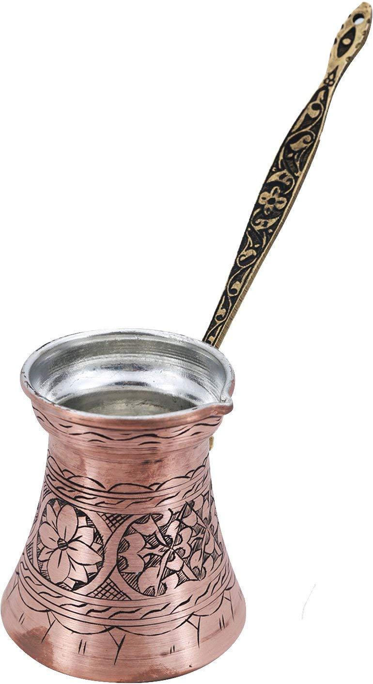 Handcraftideas%100 Hand Made Engraved Sturdy Copper Turkish Greek Arabic Armenian Coffee Pot - Stovetop Coffee Maker Cezve Ibrik Briki with Brass Handle -17 fl. Oz(500ml)- (CP-106)