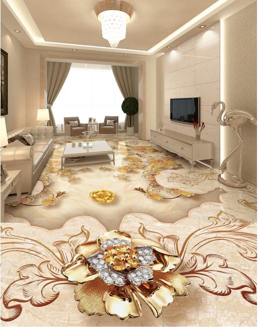 Luxury European Gold Rose Stone Parquet 3d Floor Tiles Floor