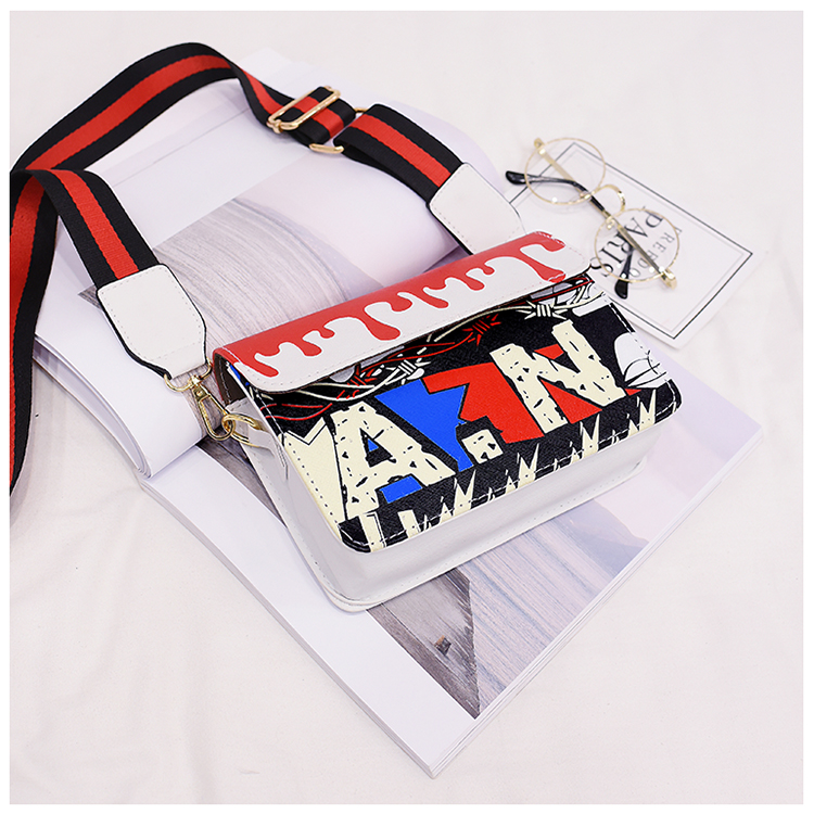 Fashion Graffiti Printing Women's Bag New Ribbon Lady Shoulder bag