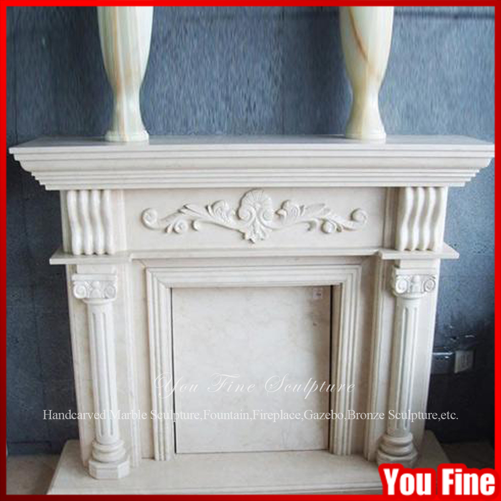 White Pillar Carved Marble Column Fireplace Mantel - Buy Marble ...