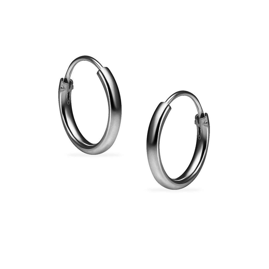 Get Quotations Silverline Jewelry Sterling Silver Black Flashed Rhodium Finish Endless Round Uni Hoop Earrings Choose Your Size