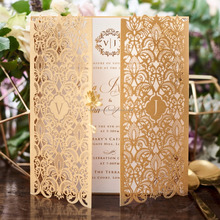 Luxury Navy Gold Bespoke Lace Laser Cut Floral Wedding Invitations