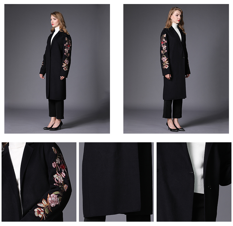 Long-sleeved embroidered side bag cashmere warm women's woollen overcoat