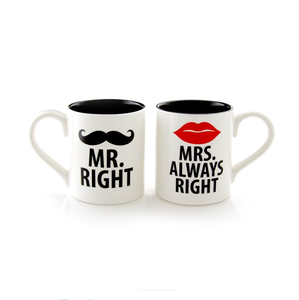 16oz Ceramic Coffee Mugs Mr. Right and Mrs. Always Right Couple Mugs with Gift box for Wedding Engagement