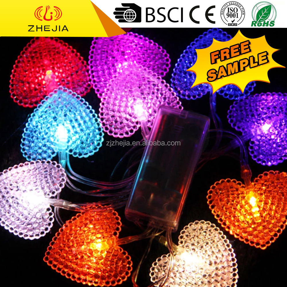DC1040 ZHEJIA design peach heart shape battery led string light