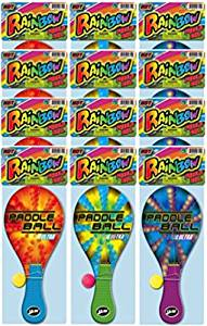 Ja-Ru Rainbow Paddle Ball (assorted color pack of 12)
