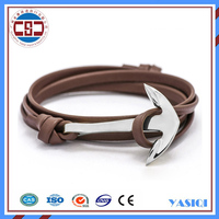 Jewelry factory top sell handmade brown leather stainless steel silver anchor custom bracelet for men