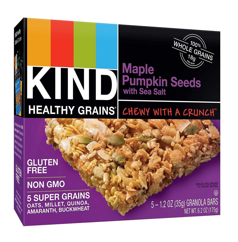 KIND Healthy Grains JlgjYq Granola Bars, Gluten Free, 1.2oz Bars, Maple Pumpkin Seeds with Sea Salt, 15 Count (Pack of 2)