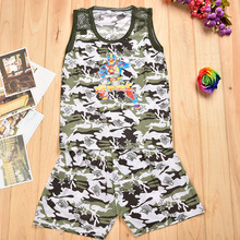 Korean children summer vest shorts comflage sleeveless two piece suit vest children milk silk baby suit