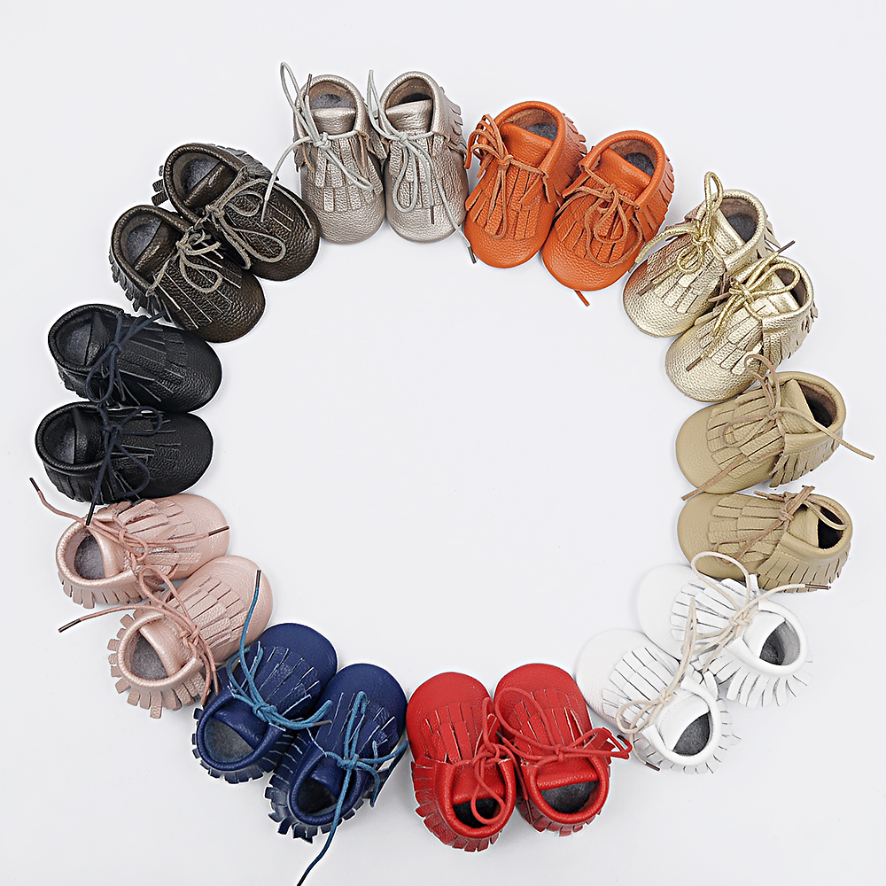 New Handmade Genuine Leather baby Fringe boots First Walkers lace up baby moccasins gils boy Shoes
