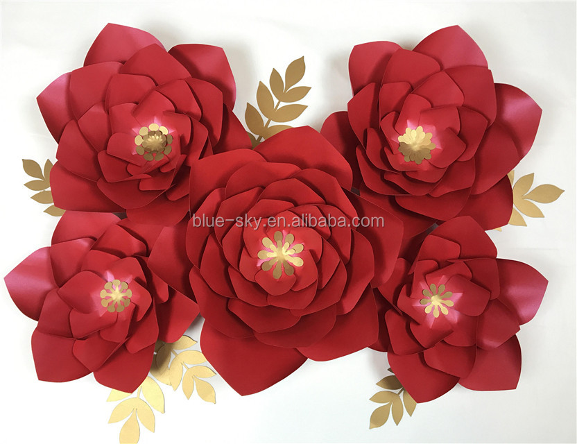 Red Paper Flower Gold Filament Peony Paper Flower Wedding Decoration