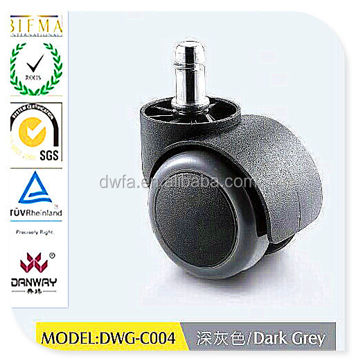 2015 office chair caster hardaware series / PA+PU dark grey casters with stem 50mm DWG-C004