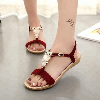 Hot selling Bohemian sandals female beach shoes,Flat Sandal For Women And Ladies
