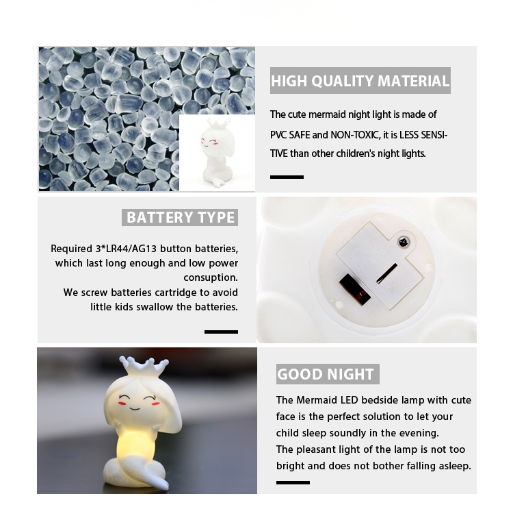 NEWEST PRODUCT Non-toxic high quality hand design lovely CUTE baby Little mermaid led night lamp light