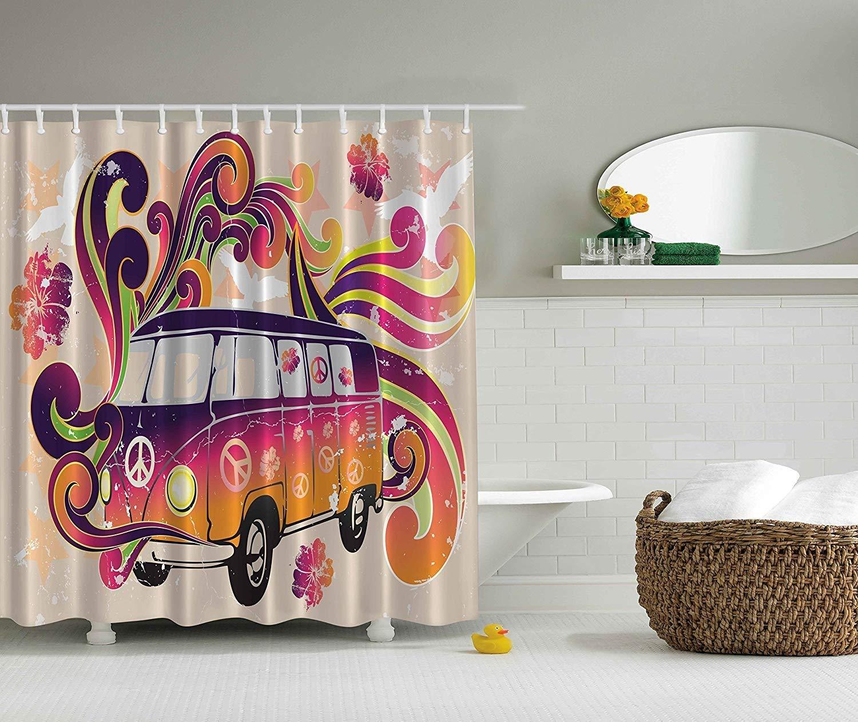 Get Quotations Bathroom Bohemian Hippie Boho Shower Curtain Peace Emblem Van Funny Minivan Explorer Caravan Paisley Antiqued