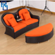 Rattan outdoor sofa bed and double deck bed rattan outdoor furniture